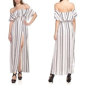 SARAH Stripe Off Shoulder Maxi Romper - WHITE